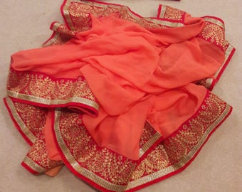 Ethnic Rajasthani Pittan work on chiffon Saree with  matching stitched blouse with heavy pittan work: FREE shipping in US