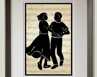 Contra Dancers Print