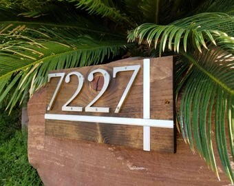 Modern Address Plaque. Modern House Numbers. House address sign wood. Metal house numbers. Custom address sign wooden. Personalized gift.