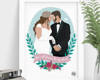 Wedding Portrait, Personalized Portrait, Custom Wedding Portrait, Custom Gift, Wedding Illustration, Couple Drawing, Gift for Wife
