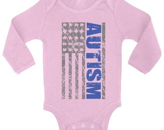 Autism Awareness USA Flag Baby Long Sleeve Bodysuits One Piece   Autistic Support American Flag Puzzle Piece