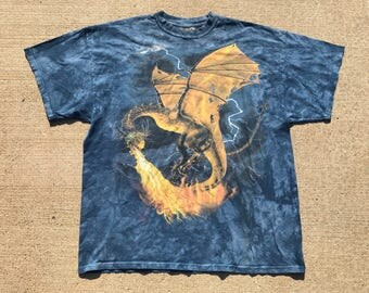 Vintage Dragon Tie-dye shirt by The Mountain Blue XL Clean
