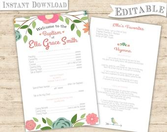 Editable PDF LDS Baptism Program Girl Digital Print girl baptism program printable floral pink bird modern Baptism Program Print Art
