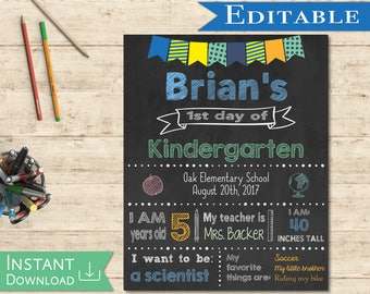 First day of School Sign Editable Chalkboard Boy Back to School 1st day of School, DIY Printable Blue Green Orange Chalkboard, Flags