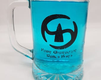 Final Fantasy XIV Job Icon Tankard, with your character name in Eorzean Lettering! Glass 1 pint Tankard heavyweight.  FFXIV FF14
