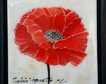 """Coquelicot 6"""" x 6"""" acrylique sur toile  au fini époxy avec cadre/ Poppy 6 in x 6 in acrylic on canvas with glossy finish and frame included"""