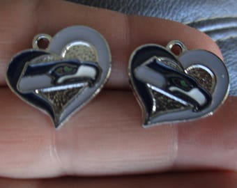 Set of 2 Small Heart Charm inspired by Seattle Seahawks