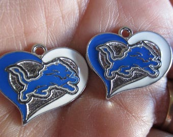 Set of 2 inspired by Detroit Lions Heart Shaped Charms