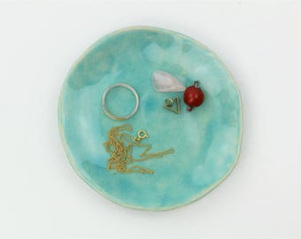 """Boho Ring bowl """"rings and things"""" jewelry store jewelry bowl Ceramic Blue d 12 cm"""