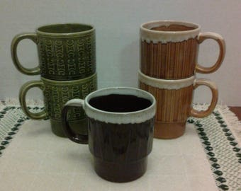 1970's Stackable Coffee Mugs