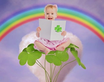 Toddler, Child, Newborn, Baby, Shamrock St Patrick's Day Photography Cute Digital Backdrop Prop for Photographers with Shamrocks and Rainbow