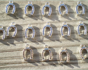 Silver Horseshoe Charms, Set of 12 plus 3 free, Good Luck Charms, Charm Findings