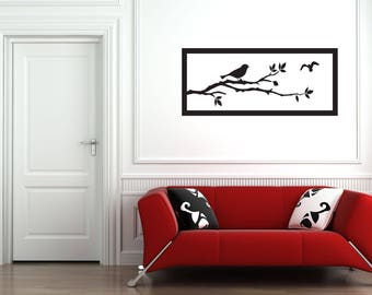 Birds on Tree Branch with Frame Home and Family Vinyl Wall Decal