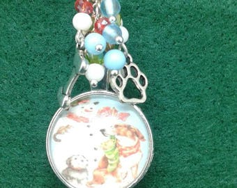 Snowman and dogs christmas ornament