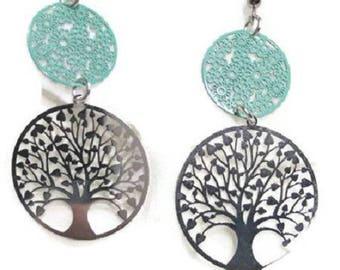 Earrings dangling tree of life green water