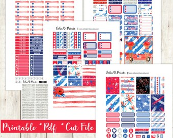 Stars and Stripes Printable Planner Stickers/Weekly Kit/Erin Condren/Cutfiles Cricut June Fourth of July Patriotic Glam Red White Blue