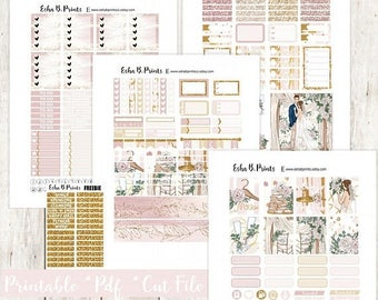 Forever Yours LIGHT Printable Planner Stickers/Weekly Kit/For Use with Erin Condren/Cutfile/Fall Glam Wedding Engagement Anniversary