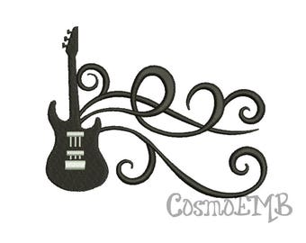 7 Size Guitar  Embroidery design Machine Embroidery - Digital INSTANT DOWNLOAD