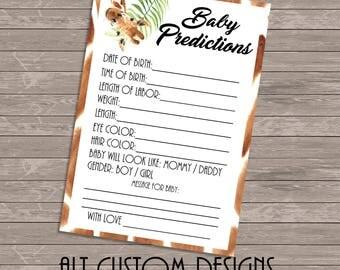 Safari Baby Predictions - Safari Baby Shower - Jungle Baby Predictions - Jungle Baby Shower Games - Safari Baby Shower Games