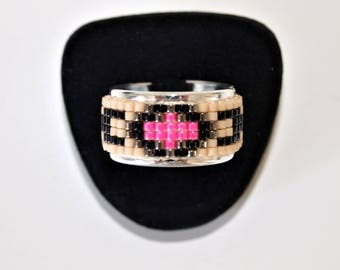 Neon pink and beige miyuki beads plated silver ring and fine