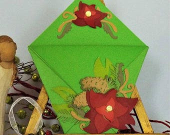 Poinsettia – Merry Christmas - handmade gift card holder for your Christmas treasures with a matching organza pouch - ORIGAMI