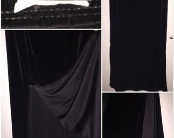 90s Velour Black Skirt, JKLA California Full-Length Skirt with Side Slit