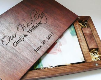 Wedding Wooden Photo Box 4''x6''(10x15 cm) with 8/16/32gb Usb wedding  album Photographer Packaging Photo Album Photo Album Photo Book