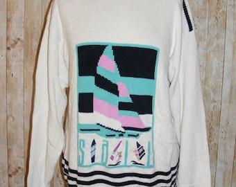 Size 12 vintage 80s slash neck nautical tunic jumper crazy pattern white (HI70)
