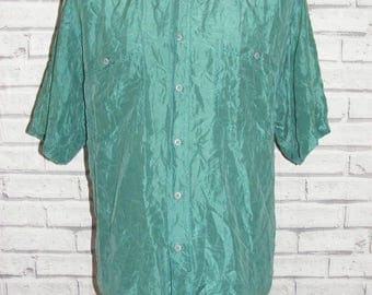 Size M vintage 80s oversize baggy short sleeve shirt jade green pure silk (HZ12)