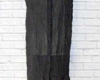 Size 14 vintage 90s style sleeveless shirt dress semi sheer crinkle black (HR61)