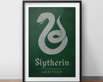 Harry Potter Art Print - Hogwarts House Banner, Slytherin Poster