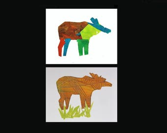 Moose Art, Alaskan Greeting Cards. Set of 2 unique collage artwork cards. Elementary student art fundraiser. Alaska Wildlife