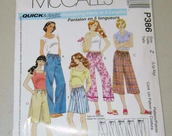 McCalls Drawstring Pants in 5 Lengths Pattern P386 Size Large X Extra 13320