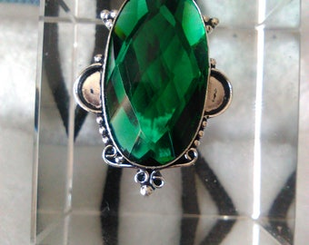 """NEW  FACETED GREEN Tourmaline 925 Silver Pendant 1.87"""""""