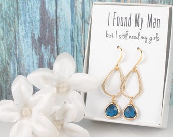 Navy Blue Triangle Gold Drop Earrings, Gold Navy Earrings, Bridesmaid Jewelry, Navy Wedding Jewelry, Navy Gold Earrings, Bridesmaid Earrings