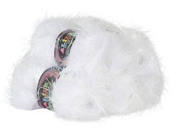 5 x 100 g fringe Cardigan ALIZE DECOFUR SIM, #55-01 white w. pearl lurex