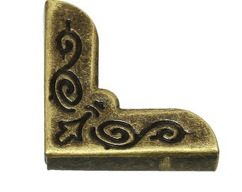 100 Book Corners 21 mm antique brass, protective corners Mappenecken edge Decor