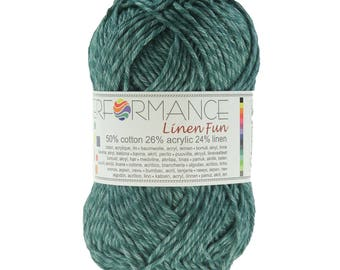 10 x 50 g knitting wool linen fun 10 #144 forest green