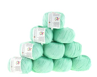 10 x 50g knitted yarn cotton marble, #140 mint