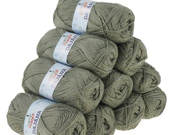 10 x 50 g knitting wool Dajana uni by VLNIKA, #455 grey