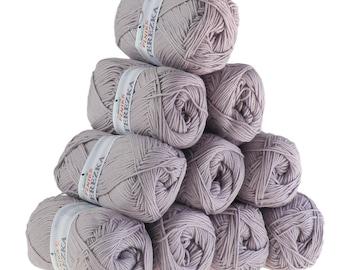 10 x 50g Strickgarn TEREZKA 100% Baumwolle, #114 grauviolett