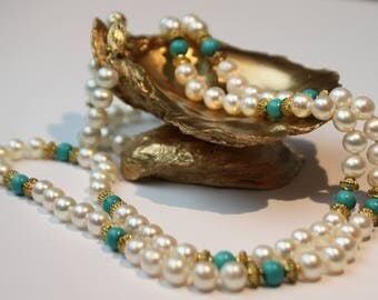 Turquoise Freshwater Pearl Necklace, 14k Yellow Gold Clasp SKU TQ31SRDSGY