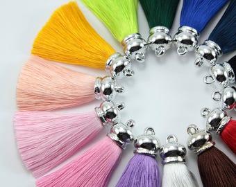 1pc, 10cm High quality silk tassels in silver cap