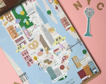 Illustrated map of New York - New York City Illustrated map
