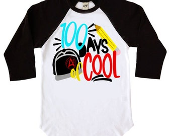 100 Days Of Cool Kids Raglan TShirt - 100 Days Of School - Youth Raglan Shirts - Baseball Shirt - Trendy Kids - School Shirt - Boys Shirt