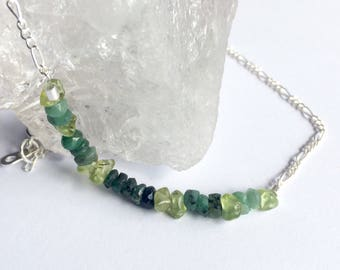 Emerald and peridot necklace