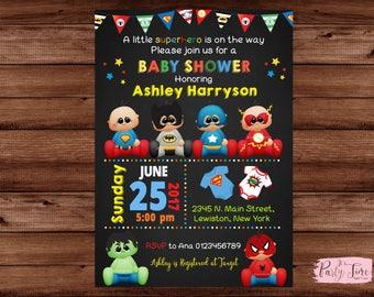 Superhero Baby Shower Invitation - Boy Baby Shower Invitation - Superhero Baby Invitation - Superhero Invite - Baby shower invitation