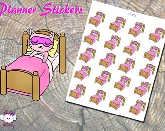 Pinky the Cat Beauty Sleep Planner Stickers, Printed Stickers, Bed Stickers, Cat Stickers, Cute Stickers, Erin Condren, Reminder, Functional