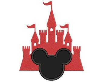 Mickey and Castle Applique Design - Disney embroidery design - Castle Applique Design - Baby embroidery