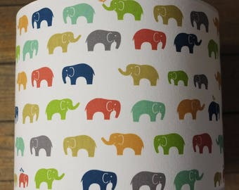 Child lamp shade fabric elephants